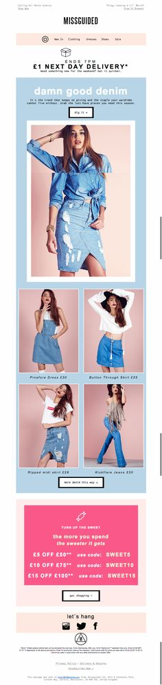 miss guided email for denim shout - main banner = gif with different poses