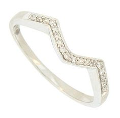 """This 14K white gold stackable wedding band features a deep """"V"""" curve and is set with fine faceted round cut diamonds. The wedding ring measures 2.23 mm in width. Size 7. We can re-size."""