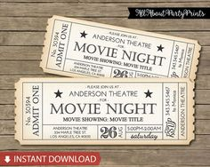 #Find more matching items, https://www.etsy.com/listing/245020982/matching-item-add-a-perfect-matching?ref=shop_home_feat_2  ……………..{ CONTENT }……………… •► This listing includes ONE ticket invitation card.-PDF format  Each ticket measures 8x3 (inches) Suitable for movie night party, movie dinner party etc.  ………………{ HOW IT WORKS }…………… 1. Purchase and check out. 2. An automatic email will be sent from Etsy to your email associated with your Etsy account. There will be a downloading link. 3. Once…