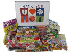Thank You Very Much Appreciation Gift Basket Box Assortment of Retro Candy for Women Men Family Teacher Doctor Coworkers or Boss * Check this awesome product by going to the link at the image. Thank You Gift Baskets, Thank You Gifts, Candy Cigarettes, Nostalgic Candy, Gourmet Candy, Fun Dip, Candy Buttons, Candy Necklaces, Retro Candy