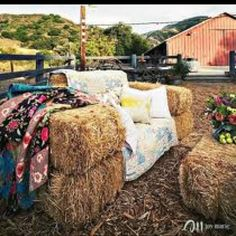 Hay bale seating Glamping Yorkshire www.campkatur.com
