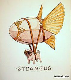 Steampunk Pug. I'm laughing way too hard at this