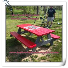 Do It Yourself – Ohio State Buckeye Picnic Table #diy #buckeyes #ohiostate