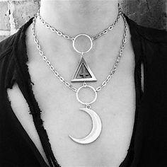 The Alchemist Choker  Crescent Moon Triangle by openthecellardoor