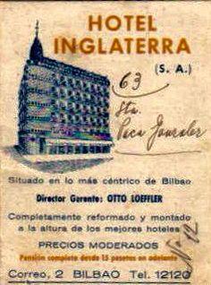 DIPTICO PUBLICITARIO HOTEL INGLATERRA. BILBAO. AÑO 1934