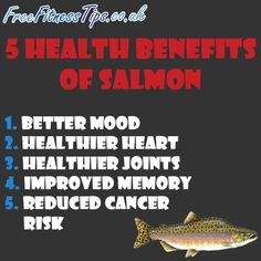 5 Health Benefits Of Salmon  http://www.pinterest.com/freefitnesstips/