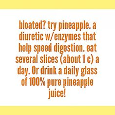 What makes pineapples so amazing!?✨ Bromelain! Bromelain is a natural enzyme found in the stem and fruit of the pineapple. It is a natural digestive aid due to it's ability to digest proteins. When consumed 30 minutes BEFORE a large meal, pineapple can help with bloating, gas, and other digestive symptoms such as IBS. Bromelain is also often marketed as a natural anti-inflammatory; it serves as temporary relief from inflammation caused by arthritis, general joint pain, surgery, injury…