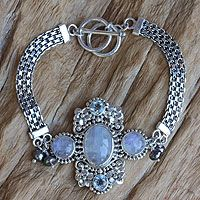 Cultured pearl and rainbow moonstone flower bracelet, 'Regal Gianyar' by NOVICA