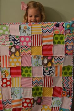 Inspiration for a knit quilt! Use old tees. Can do a jersey knit ruffle border. Project for serger