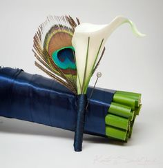 Peacock and Calla Lily #Wedding Boutonniere by @Kat Ellis Said Yes (Kate), www.katesaidyes.etsy.com