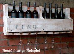 Weinregal VINO Wein Glas Gläserhalter Flaschenregal 90 cm breit Holz weiß: Amazon.de: Küche & Haushalt