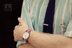 Jason Sebacher's Timex Weekender, Tie Bar Tie, and mini skull tattoo