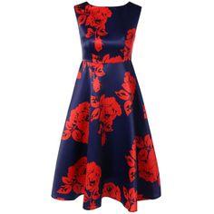 Sleeveless Knee Length Floral Print Dress | TwinkleDeals.com
