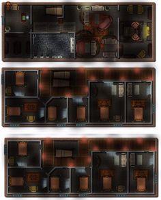 Modern Cyberpunk Gentlemen's Club Brothel Shadowrun - Map by Olivier Gagnon Cyberpunk, Tabletop Rpg, Shadowrun, Sci Fi Art, Art Pieces, Floor Plans, How To Plan, Nightclub, Ruin