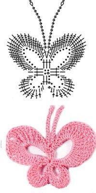 Butterfly motif and crochet +chart
