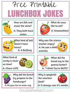 Simple Ways to Make Lunch Fun at School - Jokes - Funny memes - - Free Printable lunchbox jokes. My kids love these. Its a simple way to make homemade lunches FUN! The post Simple Ways to Make Lunch Fun at School appeared first on Gag Dad. Kids Lunch For School, School Lunches, Kid Lunches, Summer Lunches, School Fun, School Days, Funny Jokes For Kids, Kid Jokes, Lame Jokes