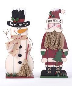 Another great find on #zulily! Wooden Snowman & Santa Décor Set by Glitzhome #zulilyfinds