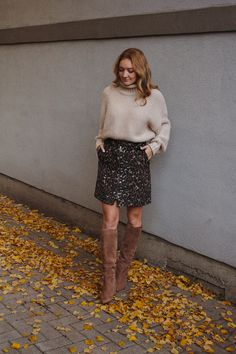 leopard skirt love - The Couture Complex Fall Fashion Outfits, Autumn Fashion, Neutral Tops, Sam Edelman Boots, Leopard Skirt, Sequin Skirt, Outfit Ideas, Nordstrom, Couture