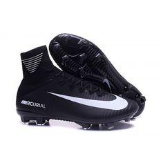 Chuteira Society Nike Mercurial Superfly V Campo FG Homens Preta Branca e9d1501228c84