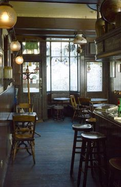 Inside the Grapes public house.