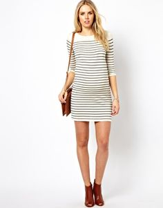 ASOS Maternity Exclusive Knitted Dress With Breton Stripe and 3/4 Sleeve
