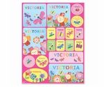 personalized sticker sheets feature your child's first name on 18 colorful stickers.