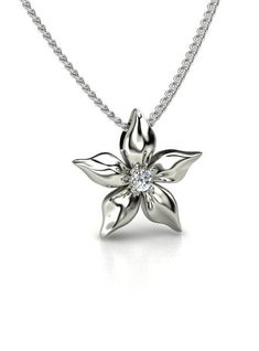 Round Diamond 14K White Gold Necklace | Star Flower Pendant | Gemvara