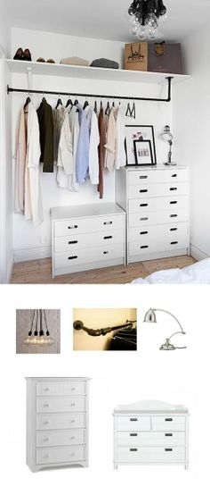 Don't have a closet? Create your own by adding some shelving, dressers, and a clothing rack. #adoredecor