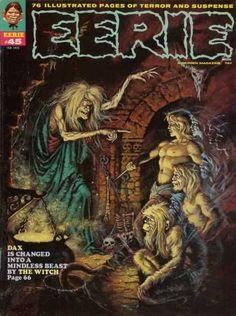 Eerie Magazine Cover Art   Eerie 45 - Horror - Adventure - Cave - Dark - Eerie
