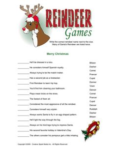 Reindeer Games Christmas game.