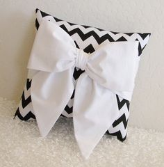 Black and White Bow AccentThrow Pillow by by pillowsbycindee, $20.00