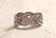 Sterling Silver Diamonique Ring 33 CZ Channel by MrsFullersAttic