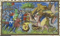 Old English gūþ-floga, m.n: one that flies to battle, a dragon. (GOOTH-FLO-ga) Image: Alexander the Great battling winged dragons with emeralds in their foreheads; Le livre et la vraye hystoire du bon roy Alixandre; France, Royal MS 20 B XX, f. Medieval Dragon, Medieval Art, Medieval Manuscript, Illuminated Manuscript, Patron Saint Of England, Types Of Dragons, Tudor Rose, St Margaret, A Discovery Of Witches