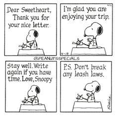 First Appearance: April 13th, 1981 #peanutsspecials #ps #pnts #schulz #snoopy #dear #sweetheart #thankyou #nice #letter #glad #enjoying #trip #write #break #leash #laws www.peanutsspecials.com