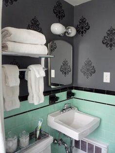 Great way to redo a vintage bath in a modern way.