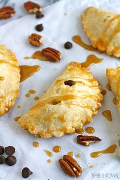 Try an adorable and portable treat: Chocolate-Pecan Hand Pies with Caramel Drizzle