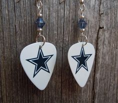 White with Blue Star Cowboys Guitar Picks with Blue Crystals by ItsYourPickToo on Etsy