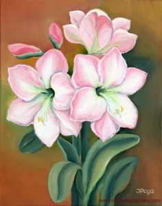Acrylic painting of white and pink amaryllis  Source: http://inesepogagallery.com/