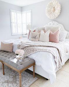 Home Bedroom Bed frame Bedding Nightstand Bed sheet Furniture White Bedroom Decor For Couples, Cute Bedroom Ideas, Girl Bedroom Designs, Room Ideas Bedroom, Home Decor Bedroom, Dream Bedroom, Bedroom Bed, Master Bedrooms, Bedroom Inspo
