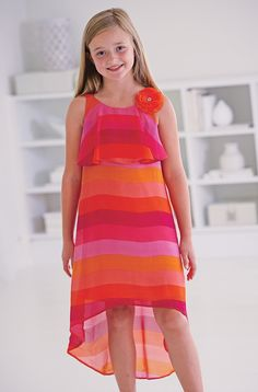 From CWDkids: Stripe Chiffon High-Low Dress