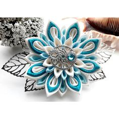 Kanzashi hair clip/Steam punk hair accessories/Kanzashi... ($14) ❤ liked on Polyvore featuring accessories and hair accessories