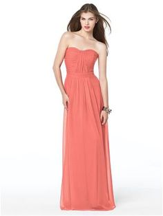 Long coral bridesmaid dress