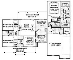 First Floor Plan of Colonial   European   Traditional   House Plan 59173  **Like the hall bath inst. of his/hers; like the MB behind kitchen**
