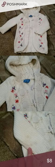 Children's Place, knit toggle sweater Girl's 18 months, white knit, hooded, toggle sweater. Great condition! Faint stains on the back of the sleeve as shown in the picture. Very warm. Children's Place Shirts & Tops Sweaters
