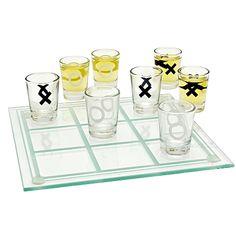 Tic Tac Toe Shots. Juego de  8 vasos tequileros y base de vidrio en forma de tablero para jugar el tradicional gato.