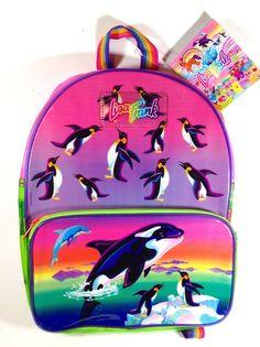Vintage Lisa Frank Backpack Big Splash Book Bag Orca Whale Dolphin Penguins Neon #LisaFrank