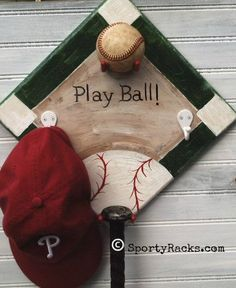 Baseball Art Decor Ballfield Baseball Diamond Bat Hat Hanger Vintage Play Ball Little League Nursery Boys Girls Mancave Kids Room