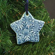 Blue Ornament Ceramic Ornament Porcelain by AllisonGlickCeramics
