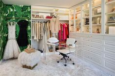 The most glamorous closet ever. | Wall color: Whisper DEW340