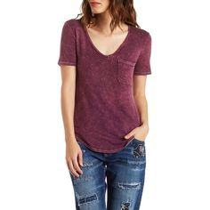 Charlotte Russe Mineral Boyfriend Tee ($20) ❤ liked on Polyvore featuring tops, t-shirts, burgundy, charlotte russe tops, boyfriend top, boyfriend tee, burgundy t shirt and slouchy tee